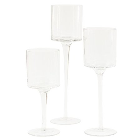 DIY Wedding Koyal Wholesale Long Stem Glass Candle Holder, Set of 3 - Longs Wholesale