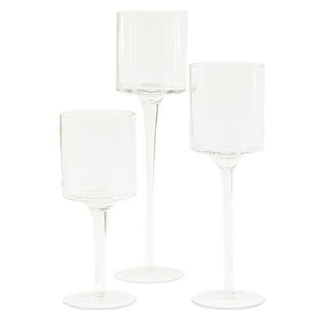 DIY Wedding Koyal Wholesale Long Stem Glass Candle Holder, Set of 3