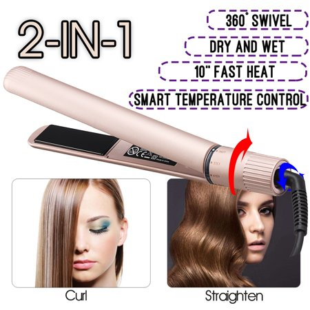 Professional 2-IN-1 10S Fast Heat Hair Straightener & Curler Ceramic Curl Flat Iron Wand, 5-Speed Rotating Adjustable (Maytag M400 Speed Heat Iron & Vertical Steamer)