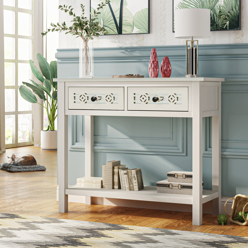 Classic Console Table with Hollow out Decoration Two Top Drawers and Open  Shelf Large Storage Space Fit for Limited Room Ivory White   Walmart.com