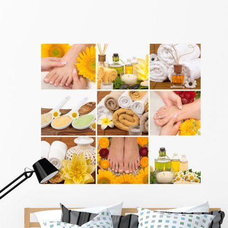 Spa Collage Wall Decal by Wallmonkeys Peel and Stick Graphic 48 in W x