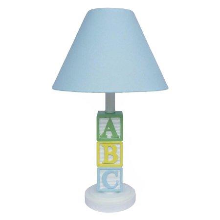 "ABC Lamp, Blue Shade, Kids room Decor, Nursery room. Product Size: 16"", 5*8.5""*6.75"" Uno-fit, uno drop 2.75""; Base: 4.5"" dia; Tube: 0.75"" dia*2""ht"