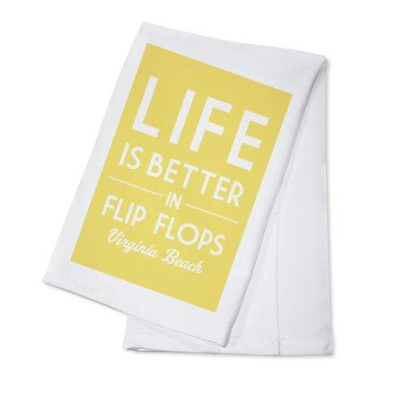 Virginia Beach, Virginia - Life is Better in Flip Flops - Simply Said - Lantern Press Artwork (100% Cotton Kitchen Towel) (Flip Flop Kitchen)