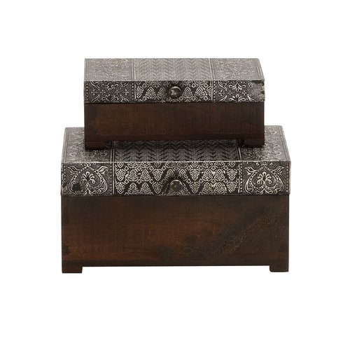 Woodland Imports The Beautiful 2 Piece Wood Metal Foil Box Set