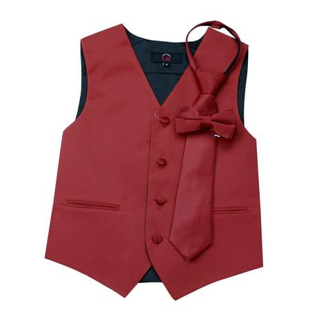 Italian Design, Boy's Tuxedo Vest, Zipper Tie & Bow-Tie Set - Scarlet