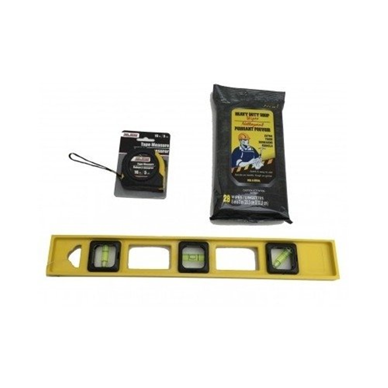 "Small Level Tape Measure & Shop Wipe Set 16"" Inch Level 16 Ft. Tape Measure 28 Shop Wipe Set Tool & Home Improvement Light Duty Household Measuring & Level Tool Set with Shop Wipes 3 Pack Set"