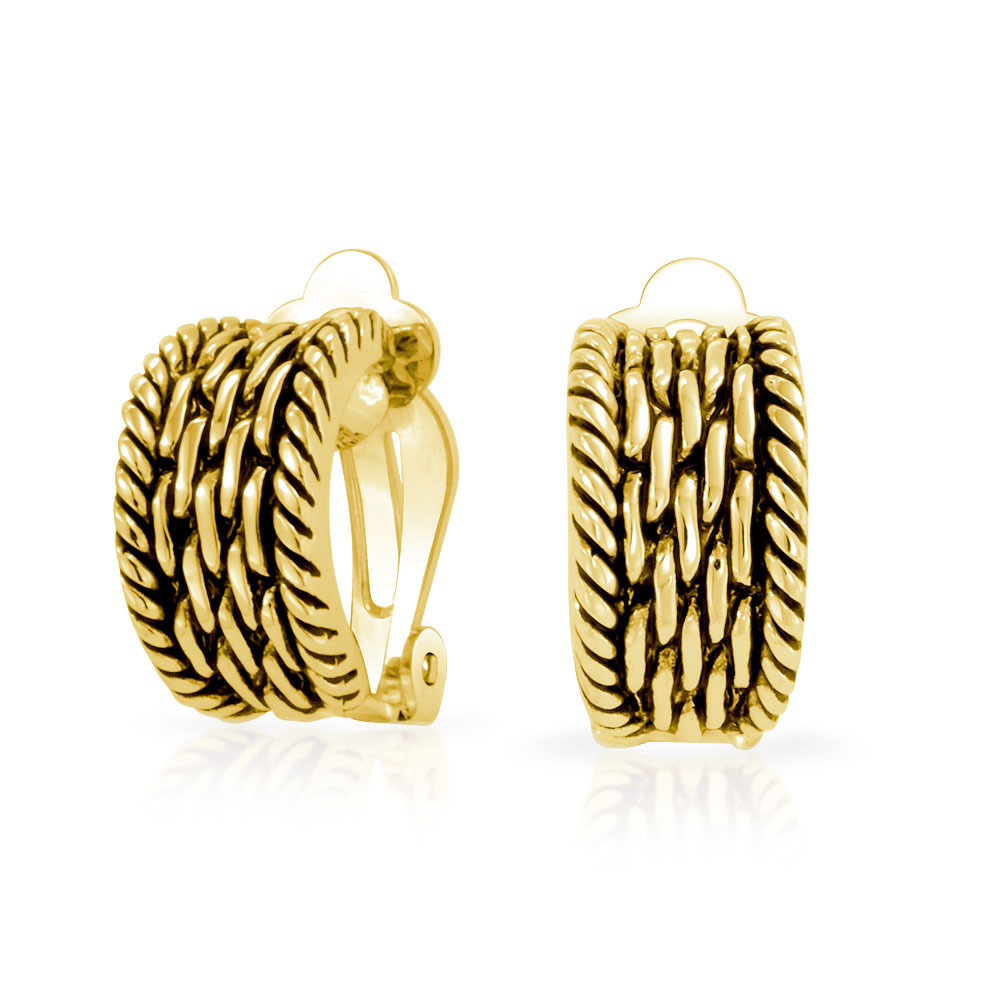 Bling Jewelry Gold Plated Twisted Cable Chain Clip On Half Hoop Earrings Antique