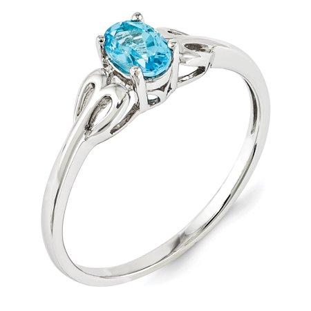 925 Sterling Silver Rhodium-Plated Light Swiss Blue Topaz Ring - image 1 de 2
