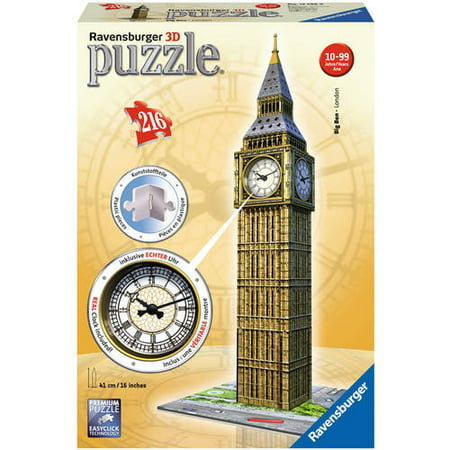 3D Puzzle: Big Ben with Working Clock Puzzle, 216 - Big Puzzle Pieces