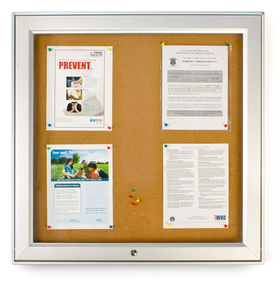 Aluminum Wall-Mounted Enclosed Bulletin Board for Outdoor Use, 26.75 x 26.75, Natural Cork Board Surface - Silver (ODNBCB6UP)