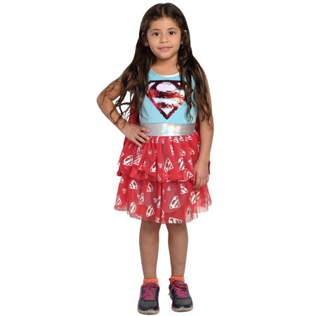 Cool Tween Girl Halloween Costume Ideas (DC Comics Supergirl Costume Dress Cape Superhero 2-Way Sequin (Big)