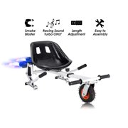 White Hoverboard Seat Attachment With Fog Blaster & LED Lights for Self Balancing Scooter Go Kart Hoverboard Accessories Compatible with 6'' 8.5'' 10'' for All Ages Adjustable Frame Length