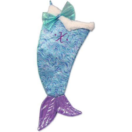 Mermaid Christmas Stocking.Monogrammed Christmas Stocking Sparkle Flecked Mermaid Tail With Script Embroidered Initial