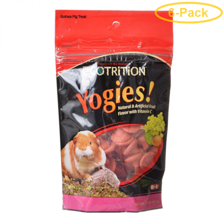 Ecotrition Yogies Guinea Pig Treats - Fruit Flavor with Vitamin C 3.5 oz - Pack of 6