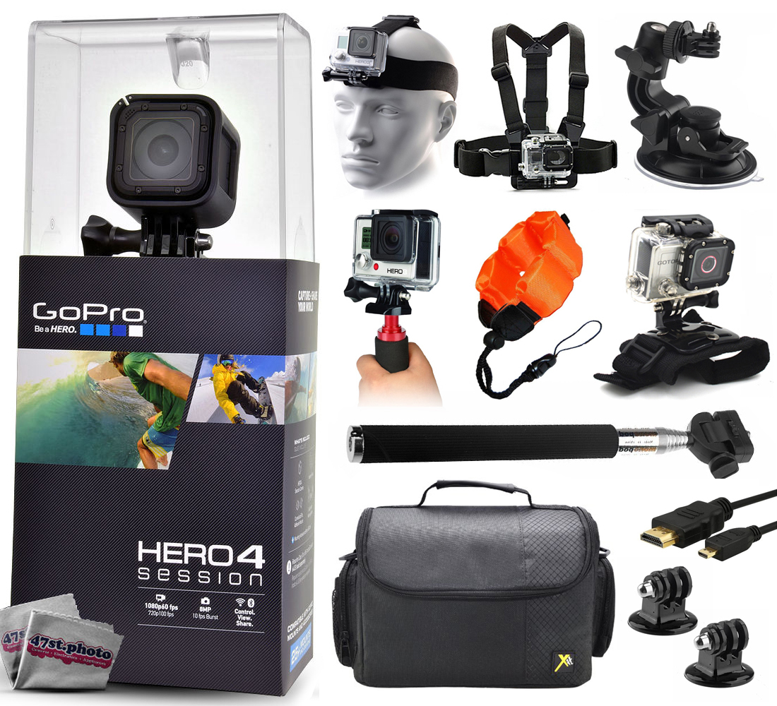 GoPro Hero 4 HERO4 Session CHDHS-101 with Headstrap + Chest Harness + Suction Cup + Handgrip + ...
