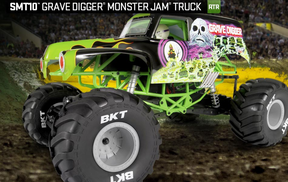 AXIAL AX90055 SMT10 1 10th Scale Grave Digger Monster Jam 4WD Electric Truck by Axial