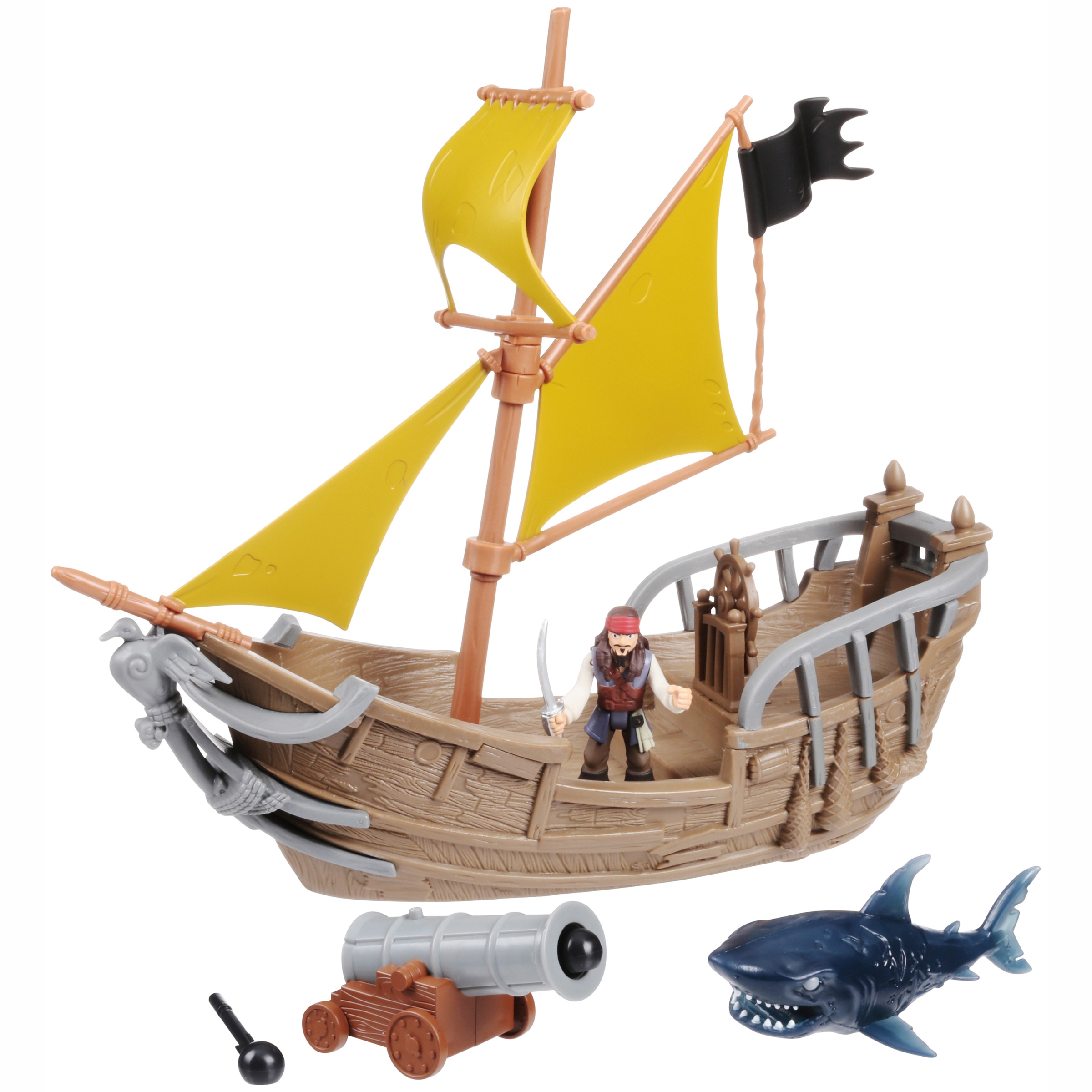 Disney Pirates of the Caribbean Dead Men Tell No Tales Jack's Pirate Ship Playset 6 pc Pack