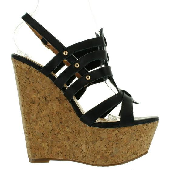 7b400479d187 De Blossom - DE BLOSSOM COLLECTION PLUM-15 Women s Strappy Platform Wedge  Sandals - Walmart.com