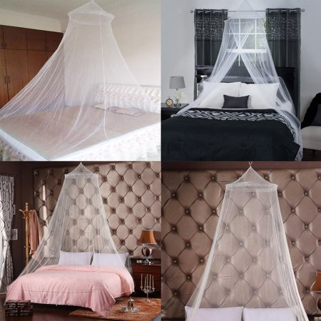 4 Corner Elegant Lace Post Bed Canopy Mosquito Net Full Queen King Size Bedding ()