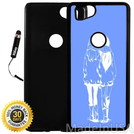 Custom Google Pixel 2 Case (Anime Best Friends) Plastic Black Cover Ultra Slim | Lightweight | Includes Stylus Pen by