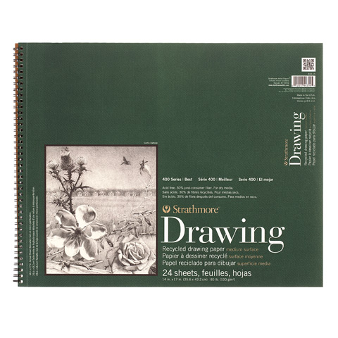 Strathmore Wire-Bound Drawing Pad - Recycled Paper - 14 x 17 inches - 24 Sheets