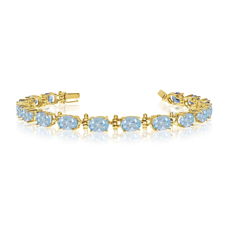 14K Yellow Gold Oval Aquamarine Bracelet by