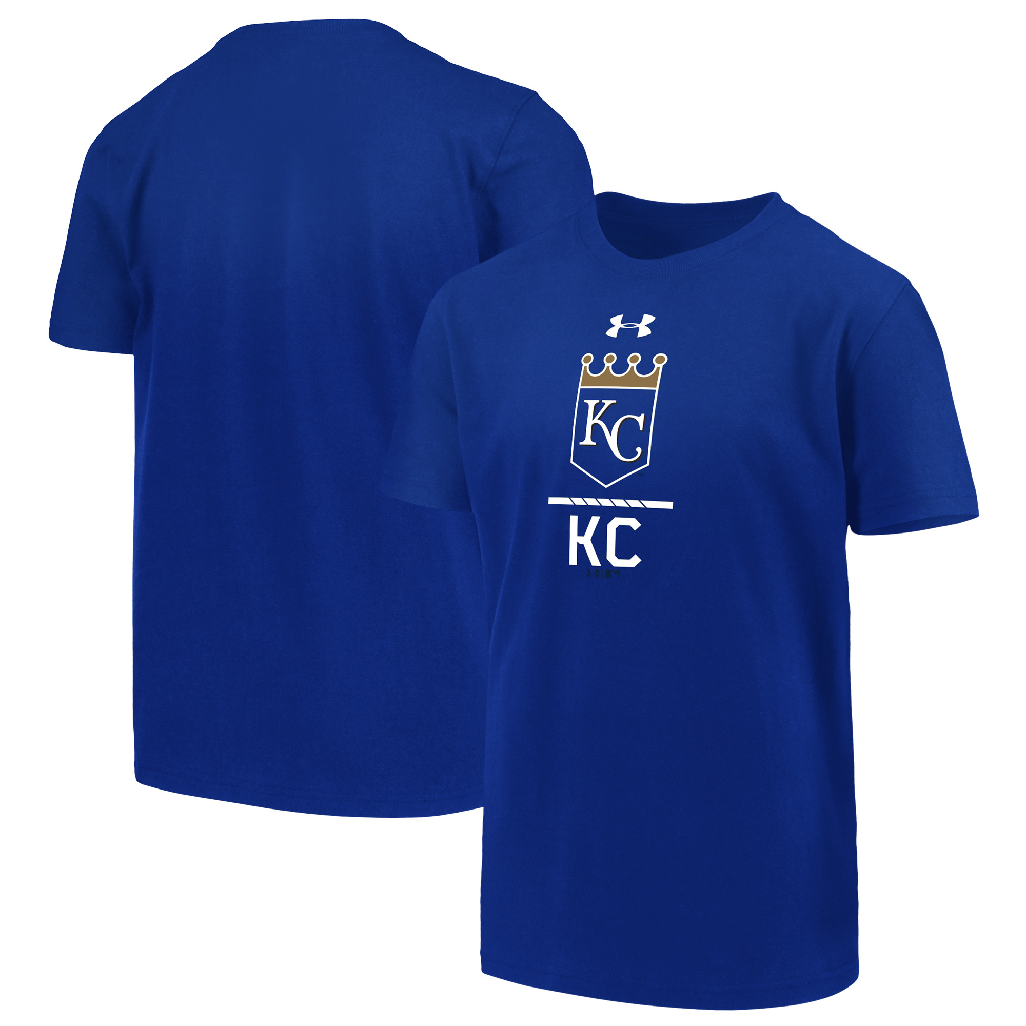 Kansas City Royals Under Armour Youth Armour Lock-Up Charged T-Shirt - Royal