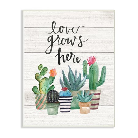 The Stupell Home Decor Collection Love Grows Here Cactus Succulents Watercolor Wall Plaque Art, 10 x 0.5 x 15](Cactus Decor)