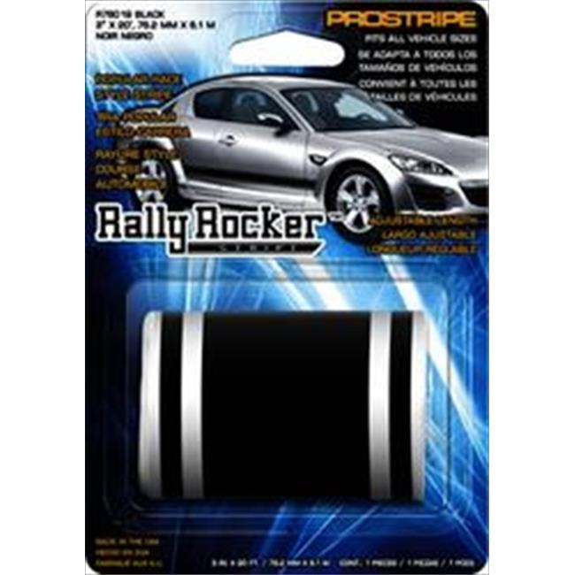 Trimbrite R76019 Rally Rocker Stripe, 3 in. x 20 ft. Black