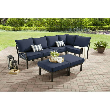 Mainstays Sandhill 7-Piece Outdoor Sofa Sectional Set, Seats 5 with Blue Cushions