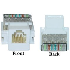CableWholesale 331-120WH Keystone Insert  White  Phone Jack  Tooless  RJ11  RJ12 Female to Wire