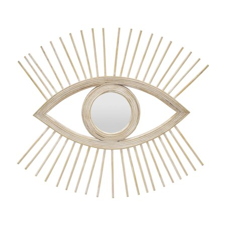 Three Hands Open Eye Bamboo Wall Mirror ()