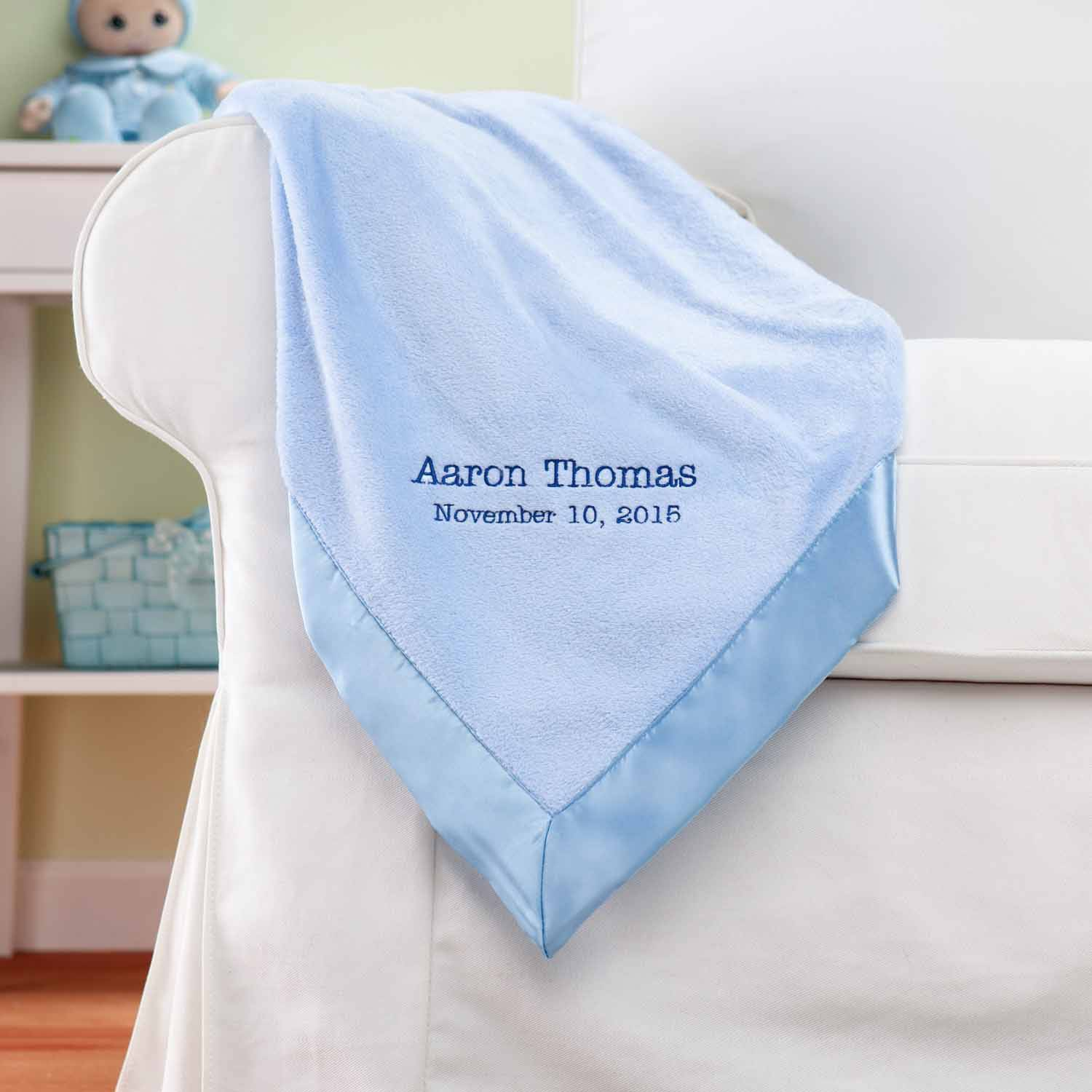 Personalized New Baby Blue Baby Blanket