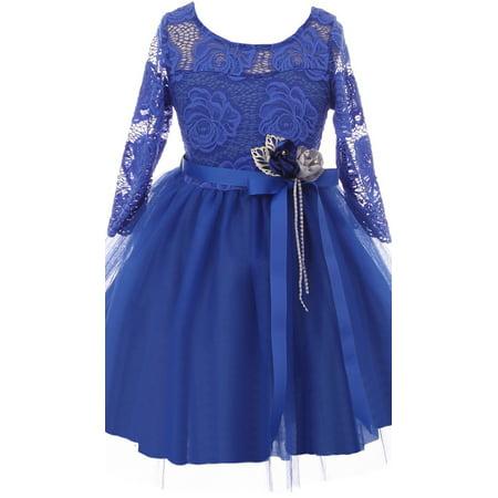 Little Girls Long Sleeve Girls Dress Floral Lace Roses Corsage Easter Flower Girl Dress Royal 4 (J20KS98) - Roman Dresses