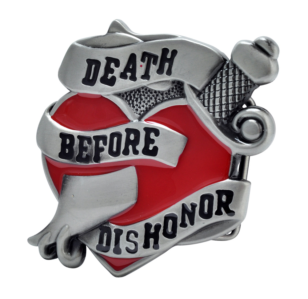 Buckle Rage Death Before Dishonor Painted Heart Belt Buckle, RED, 379-RED