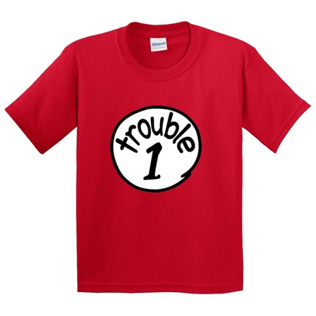 New Way 721 - Youth T-Shirt Trouble 1 One Dr Seuss Thing (Thing One And Thing Two Baby Shirts)