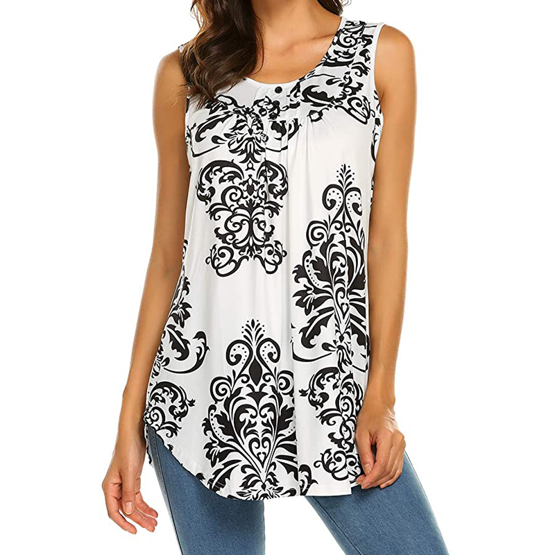 Womens Tank Tops Loose Summer Sleeveless Loose Fit Pleated Tunic Shirts Button Floral Curved Hem Causal Blouse