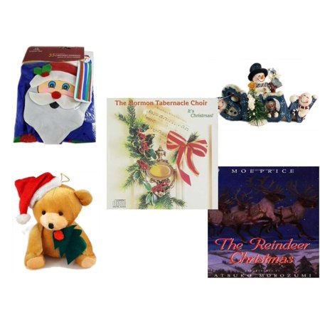 "Christmas Fun Gift Bundle [5 Piece] -  Time  Windsock Santa - Crazy Mountain Snowman Family ""Snow"" Figurine  - The Mormon Tabernacle Choir It"