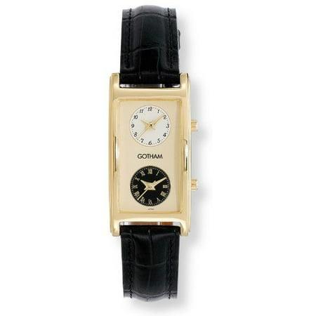 Gotham Mens Gold Tone Dual Time Zone Leather Strap Watch   Gwc15077b