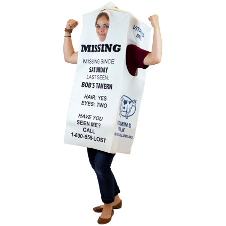 Adult Halloween Costume--Milk Carton for Missing Person in White Polyester - One Size - White (Milk Carton Kids Halloween)