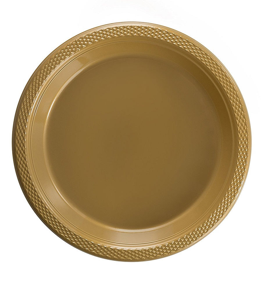 Exquisite 10\  Disposable Plastic Plates Bulk - 100 Count Party Pack - Premium Plastic Disposable Lunch \u0026 Dinner Plates Gold  sc 1 st  Walmart & Exquisite 10\