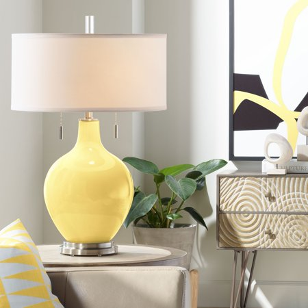 Color Plus Modern Table Lamp Daffodil Yellow Glass Gourd White Drum Shade for Living Room Family Bedroom Bedside Nightstand Daffodil Bell Stained Glass