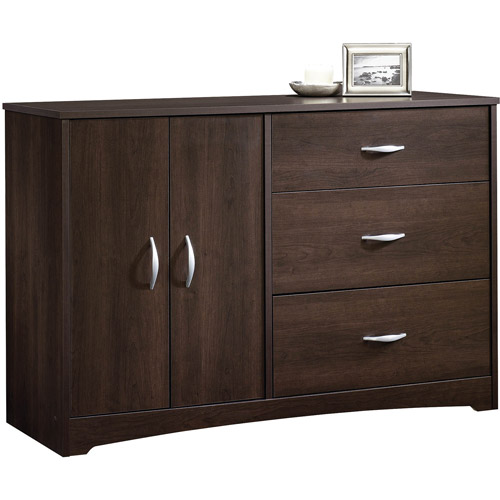 Sauder Beginnings 3-Drawer Dresser in Espresso