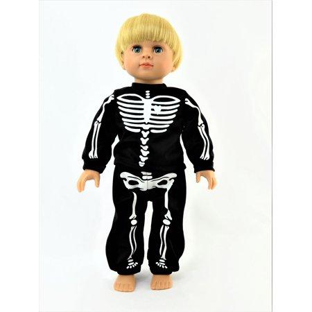 Black Skeleton Halloween Pajamas | 18 Inch American Girl Doll Clothes