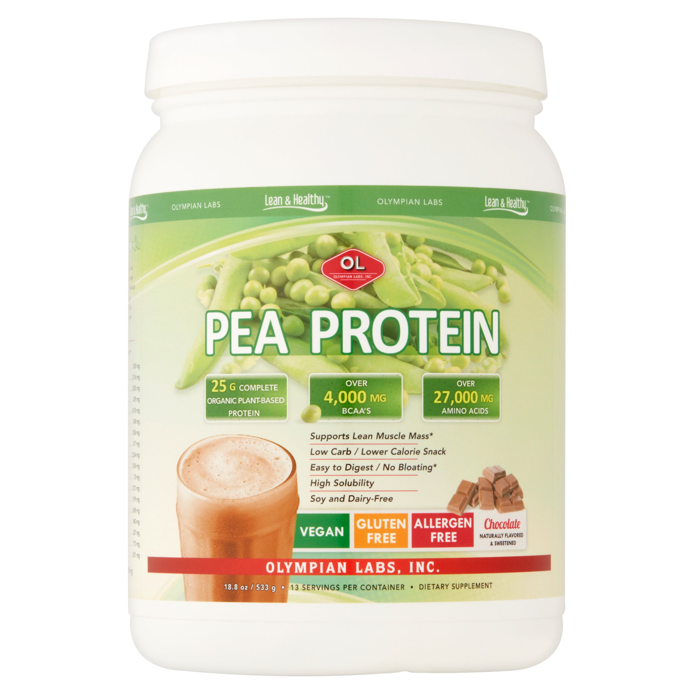 Olympian Labs Pea Protein Powder, Chocolate, 25g Protein, 1.1 Lb