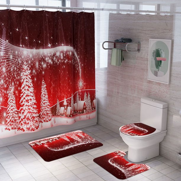 4 Pcs Merry Christmas Shower Curtain Sets With Non Slip Rugs Toilet Lid Cover Bath Mat For Christmas Decoration Walmart Com Walmart Com