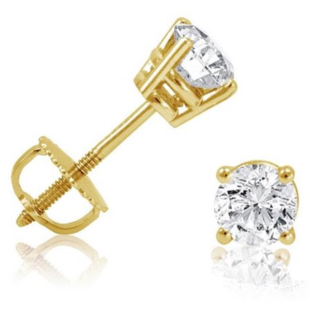 Amanda Rose Collection Diamond Solitaire Stud Earrings in 14k Yellow Gold Screw & Back Settings, 0.5 ct
