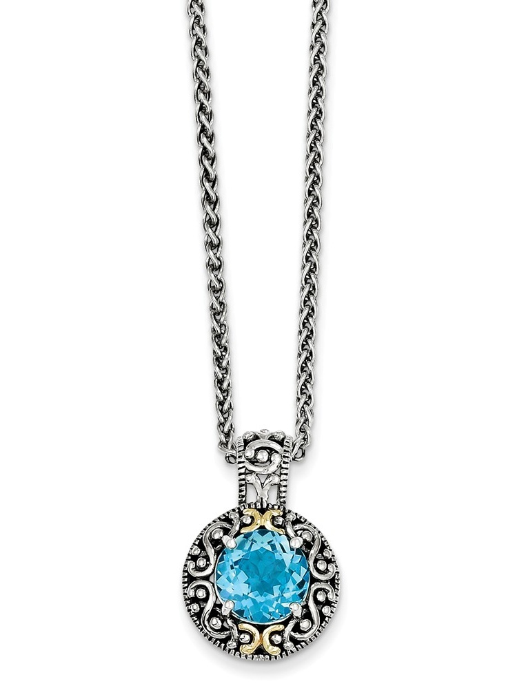 "14K Yellow Gold with Blue Simulated Topaz Necklace -18"" (18in x 2mm) by"