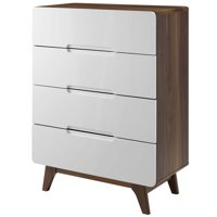 Modern Contemporary Urban Design Bedroom Living Room Dresser Drawer Chest Stand, Wood, Natural Brown White