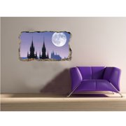 Startonight 3D Mural Wall Art Photo Decor Window Moon in Praga  Amazing Dual View Surprise Medium Wall Mural Wallpaper for Bedroom Cities Collection Wall Paper Art 32.28 inch By 59.06 inch